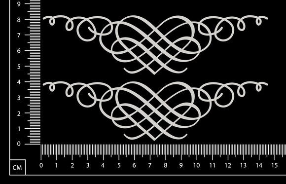Lace Heart Border Set - B - Small - White Chipboard