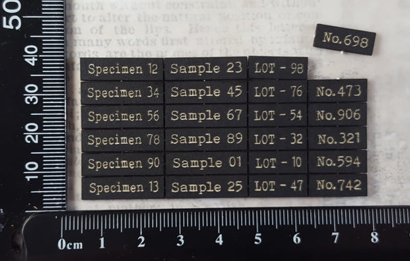 Laser Engraved Specimen Sample Lot & Number Labels - Small