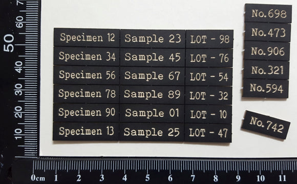 Laser Engraved Specimen Sample Lot & Number Labels
