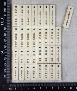 Laser Engraved Word Charms - White Chipboard