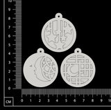 Layered Charms Set - AA - White Chipboard