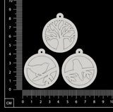 Layered Charms Set - AC - White Chipboard