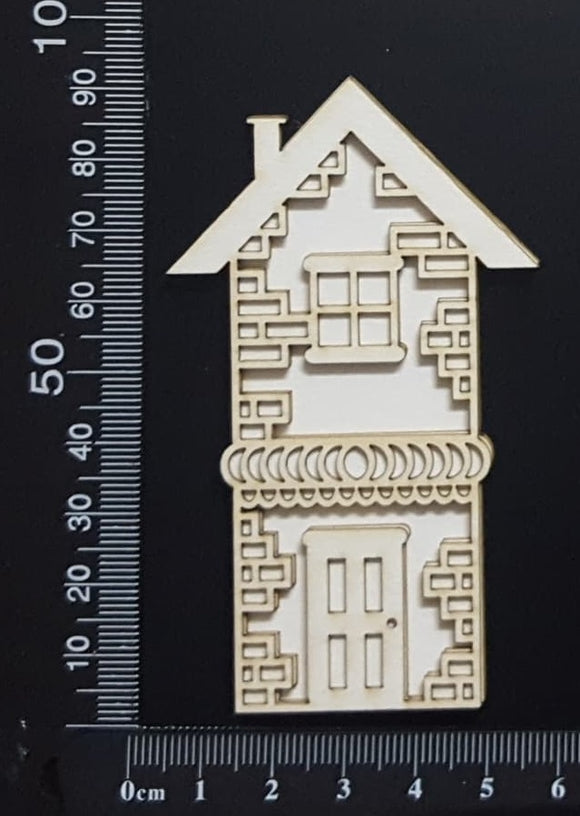 Layered Detailed House Set - I - Small - White Chipboard