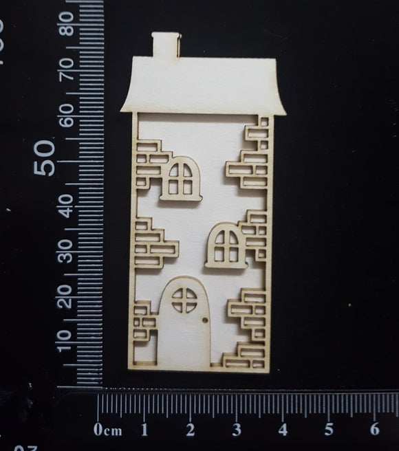 Layered Detailed House Set - J - Small - White Chipboard