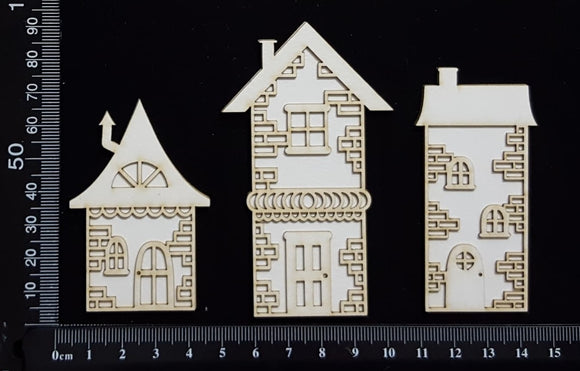 Layered Detailed House Set - L - Small - White Chipboard