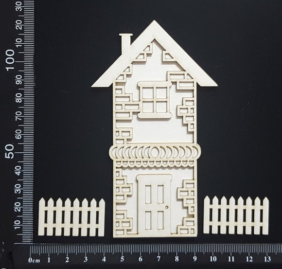 Layered Detailed House Set - M - Large - White Chipboard