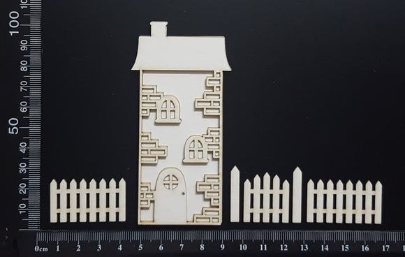 Layered Detailed House Set - N - Large - White Chipboard