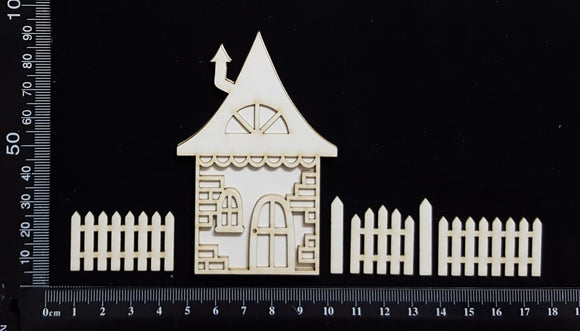 Layered Detailed House Set - O - Large - White Chipboard