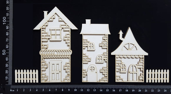 Layered Detailed House Set - P - Large - White Chipboard