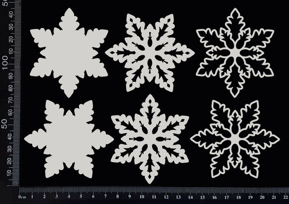 Layered Snowflake Set - G - White Chipboard