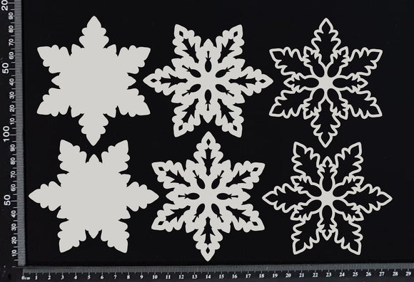Layered Snowflake Set - H - White Chipboard
