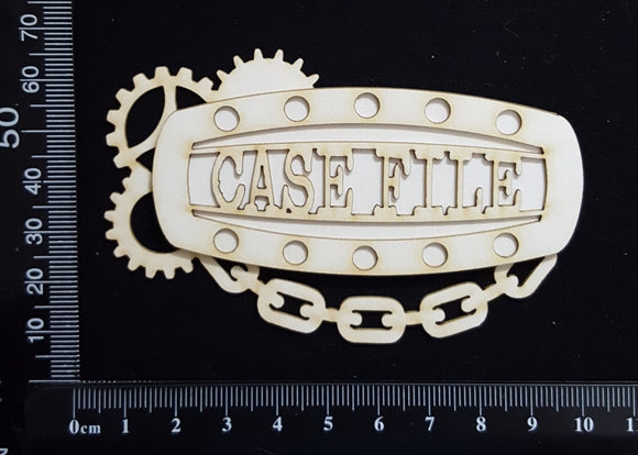 Steampunk Title Plate - EC - Case File - Layering Set - White Chipboard