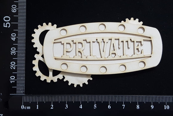 Steampunk Title Plate - EL - Private - Layering Set - White Chipboard