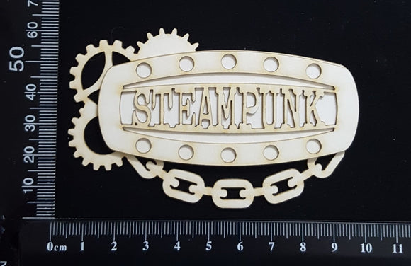 Steampunk Title Plate - EM - Steampunk - Layering Set - White Chipboard