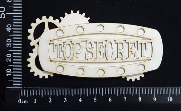 Steampunk Title Plate - EN - Top Secret - Layering Set - White Chipboard