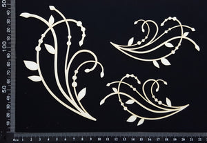 Leaf Flourishes Set - B - White Chipboard