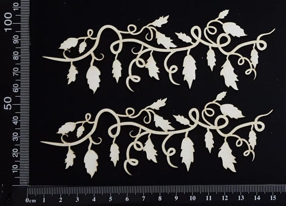 Leafy Vine Border Set - B - Small - White Chipboard