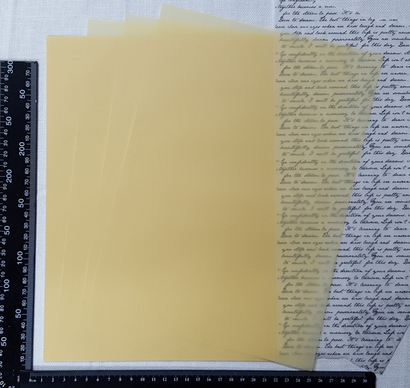 Parchment/Vellum Paper - A4 pack of 25 sheets - Light Yellow