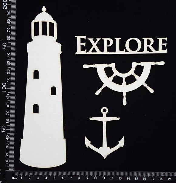 Lighthouse Set - D - White Chipboard