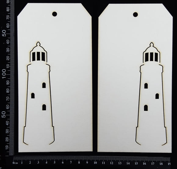 Lighthouse Tag Set - Large - A - White Chipboard