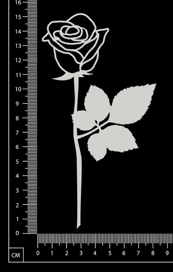 Long Stem Rose - A - White Chipboard