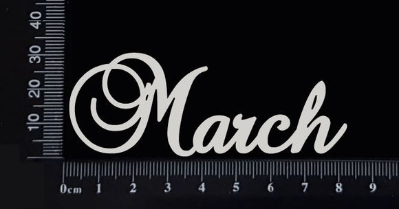 Elegant Word - March - White Chipboard