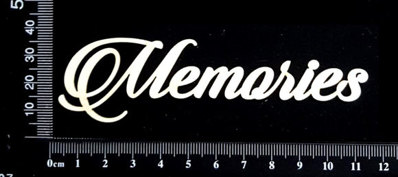 Sandscript Word - Memories  - White Chipboard