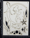 Mermaid Set - F - Large - White Chipboard