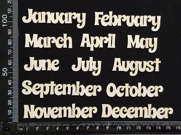 Months Set - B - White Chipboard