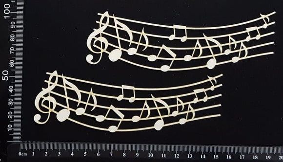 Music Border Set - B - Small - White Chipboard