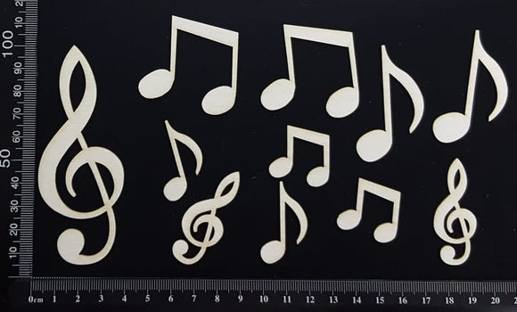 Musical Notes Set - White Chipboard