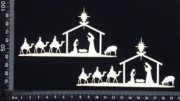 Nativity Borders - White Chipboard