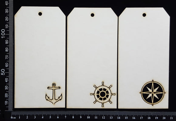 Nautical Tags Set - Medium - A - White Chipboard