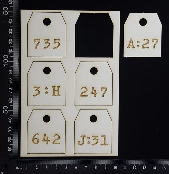 Laser Engraved Number Tags - A - White Chipboard
