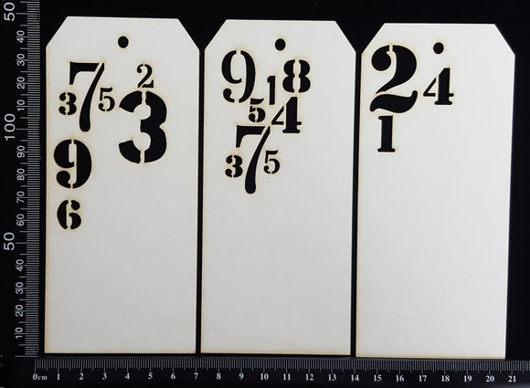 Number Tags - Medium - B - White Chipboard