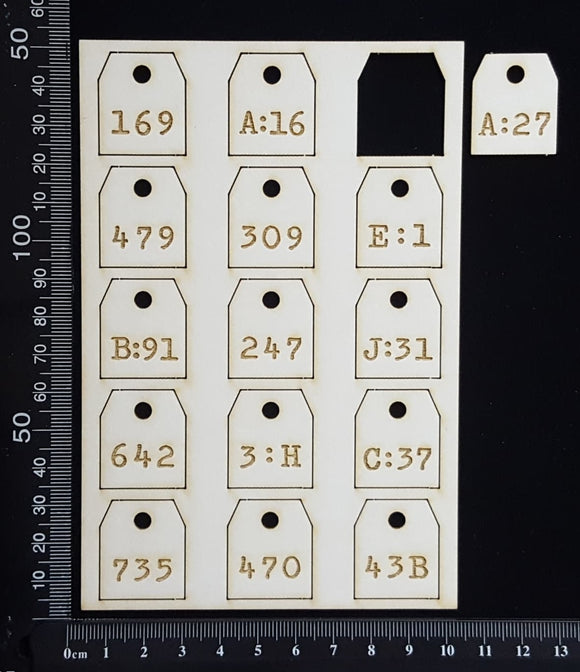 Laser Engraved Number Tags - C - White Chipboard