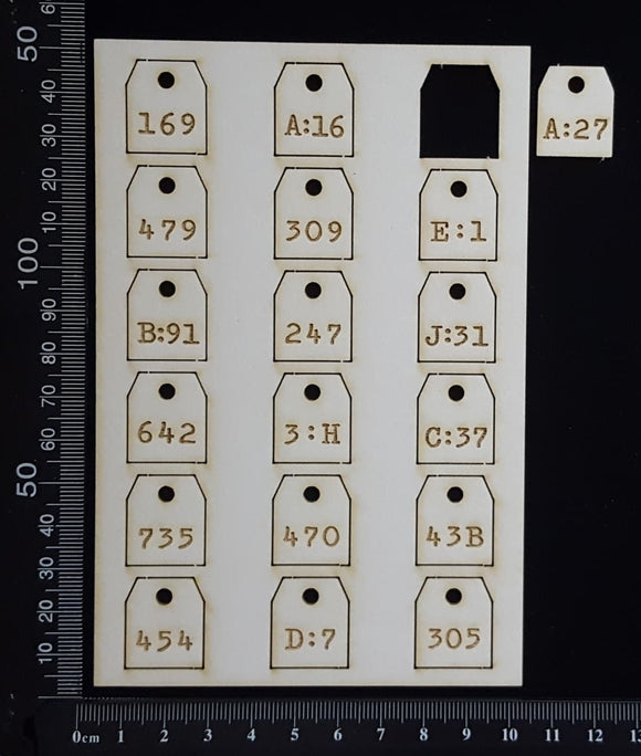 Laser Engraved Number Tags - D - White Chipboard