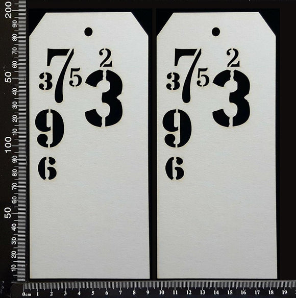 Number Tags - Large - B - White Chipboard