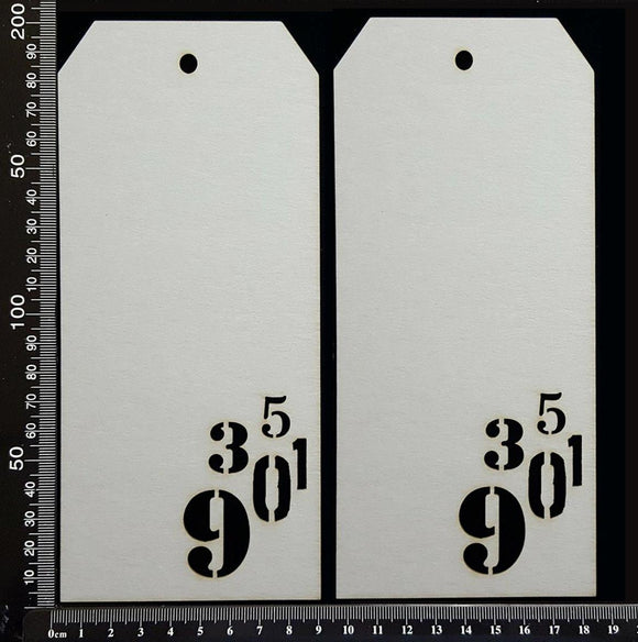 Number Tags - Large - D - White Chipboard