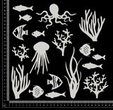 Ocean Elements Set - A - White Chipboard