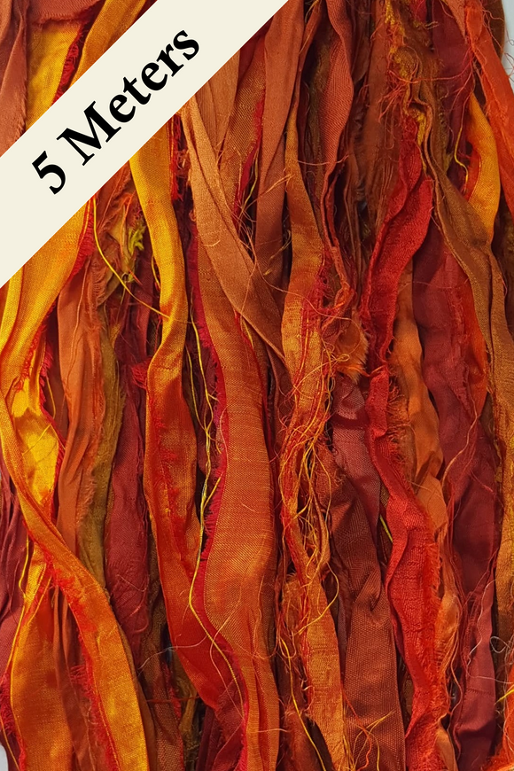 Reclaimed Sari Silk Ribbon - Orange - 5m Pack