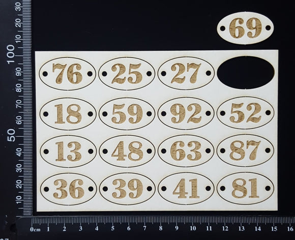 Laser Engraved Oval Number Plates - B - White Chipboard