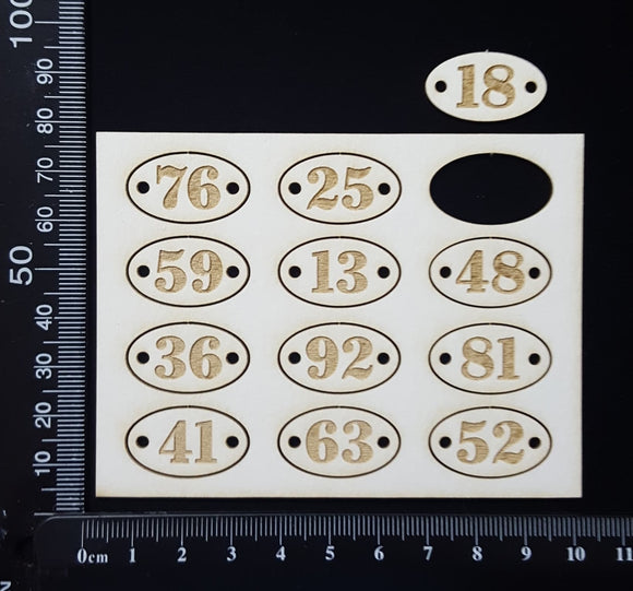 Laser Engraved Oval Number Plates - C - White Chipboard