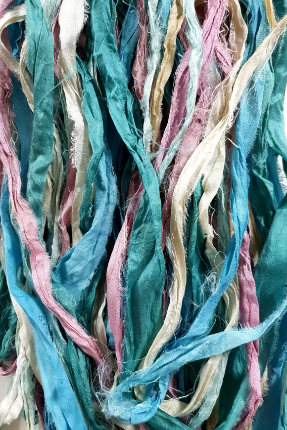 Reclaimed Sari Silk Ribbon - Pastels