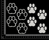 Paw prints - White Chipboard
