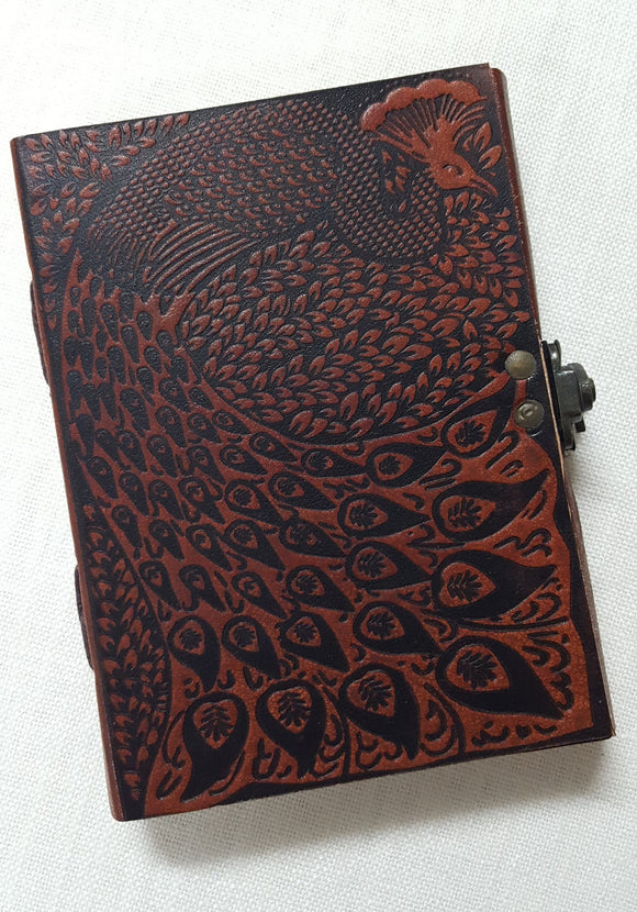 Leather Bound Peacock Journal