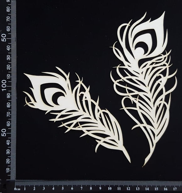 Peacock Feathers Set - A - Large - White Chipboard
