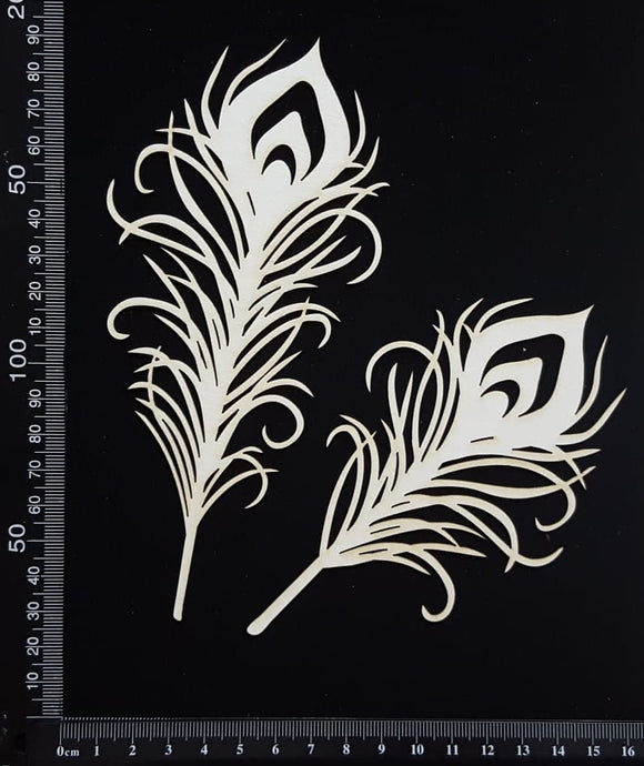 Peacock Feathers Set - B - Large - White Chipboard