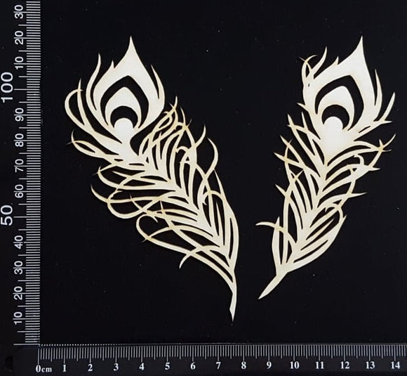 Peacock Feathers Set - C - Small - White Chipboard