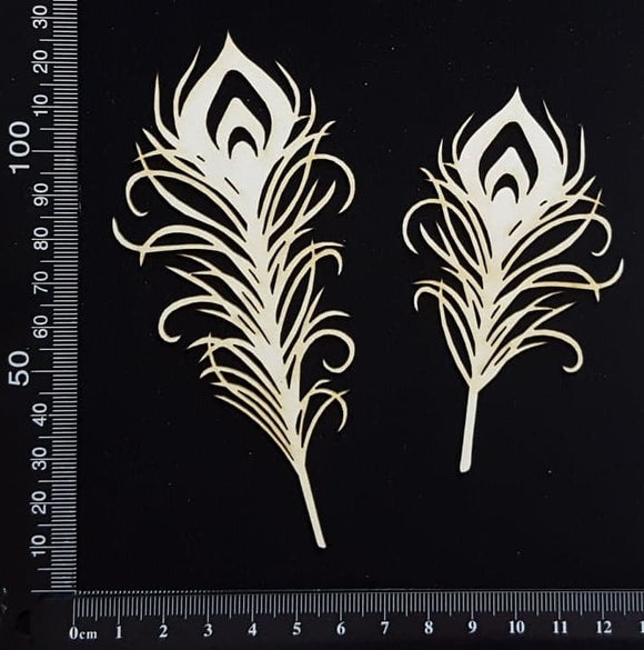 Peacock Feathers Set - D - Small - White Chipboard